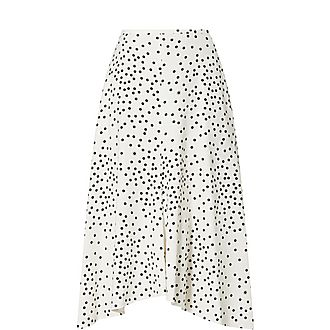 Long Dot Pleat Skirt