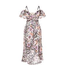 Safari Print Cold Shoulder Dress