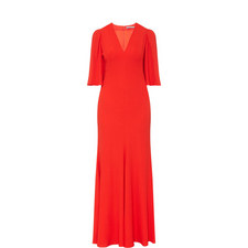Pleat Detail Evening Gown