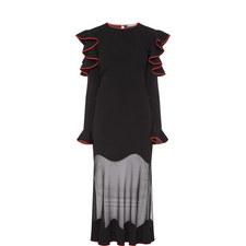 Knitted Ruffle Midi Dress