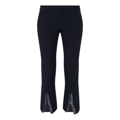 Lace Insert Cigarette Trousers, ${color}