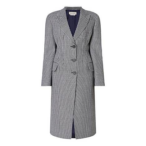 Fitted Houndstooth Check Coat, ${color}