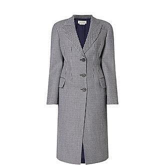Fitted Houndstooth Check Coat