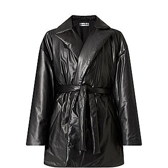 Padded Leather Trench Coat