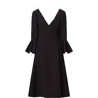 Wool Deep V-Neck Dress