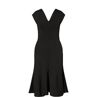 Flared Crepe Midi Dress