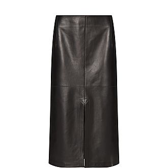 Box Pleated Leather Skirt