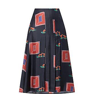 Horse Print Pleated Skirt