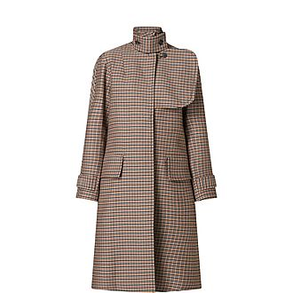 Flared Check Trench Coat