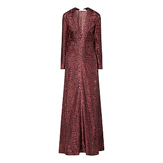 Python V-Neck Gown Dress
