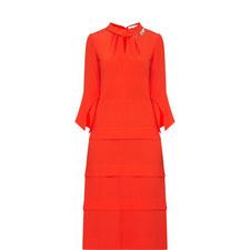 Ruched-Neck Midi Dress