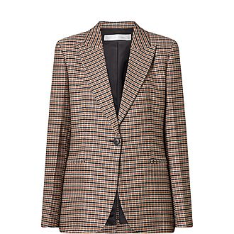 Houndstooth Check Wool Jacket