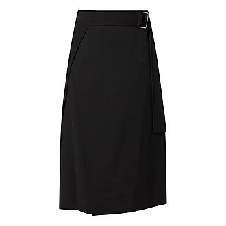 Belted Asymmetric Midi Skirt