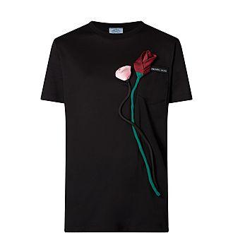 Large Rose Embellished T-Shirt