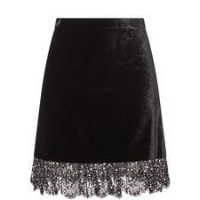 Velvet Crystal Lace Trim Skirt