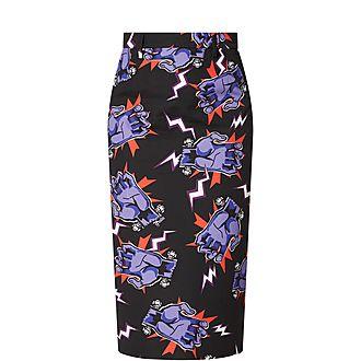 Hands Print Pencil Skirt