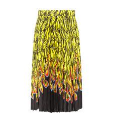 Pleated Banana Flame Print Skirt