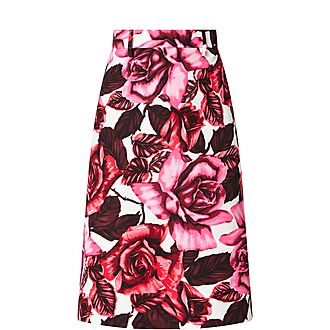 Rose-Print A-line Skirt