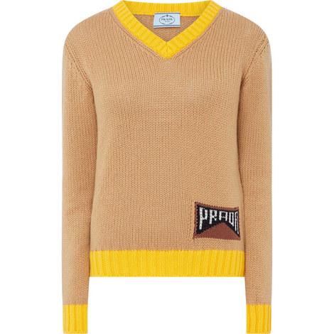 V-Neck Logo Sweater, ${color}