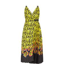 Banana Print Wrap Dress