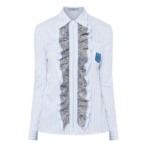 Ruffled Brocade Shirt, ${color}