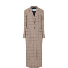 Check Long Wool Coat