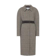 Check Wool Belt Coat