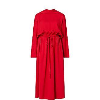 Tie Neck Detail Midi Dress