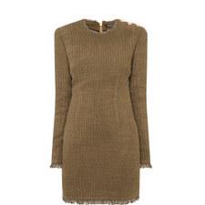 Tweed Fray Hem Dress