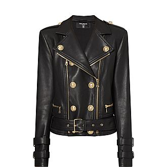 Six Button Leather Jacket