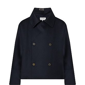 Wool and Cashmere Double-Breasted Short Jacket