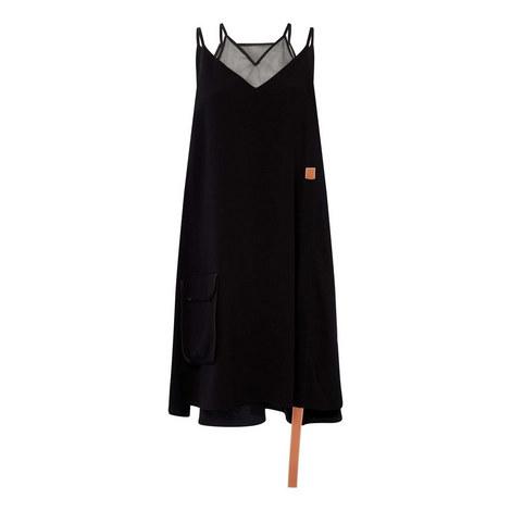 Trapeze Leather Strap Dress, ${color}