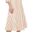 Striped V-neckline Dress, ${color}