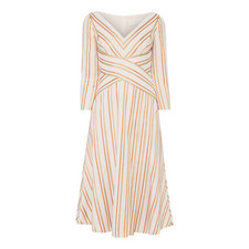 Striped V-neckline Dress