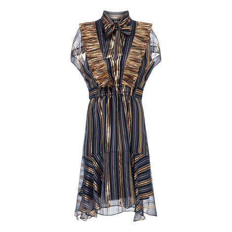 Lurex Striped Chiffon Dress, ${color}