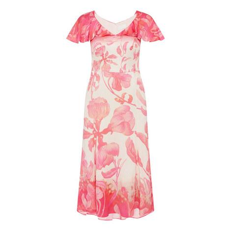Flower V-Neck Dress, ${color}