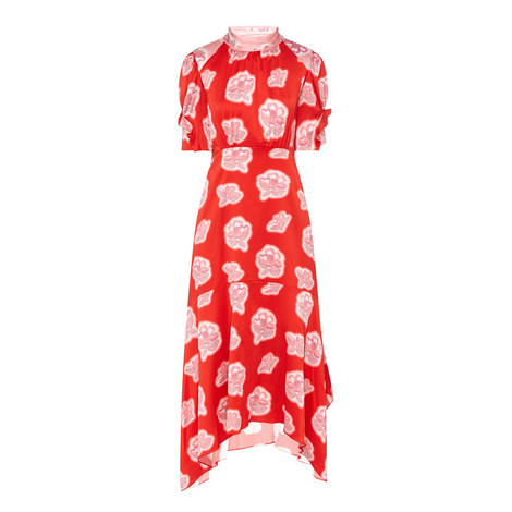 High Neck Printed Dress, ${color}