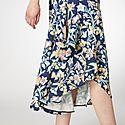 Asymmetrical Pastel Floral Skirt, ${color}
