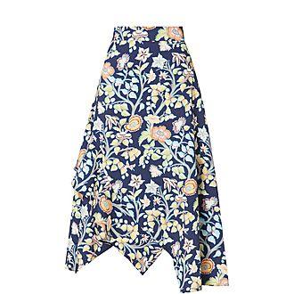 Asymmetrical Pastel Floral Skirt