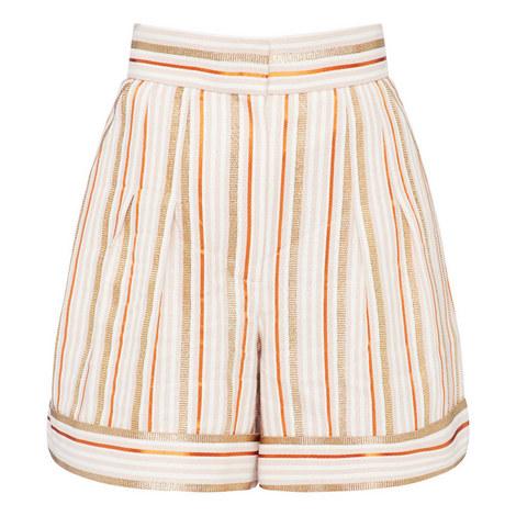 Striped Lurex Shorts, ${color}