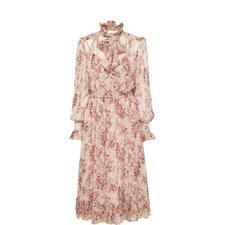 Floral Tie Neck Midi Dress