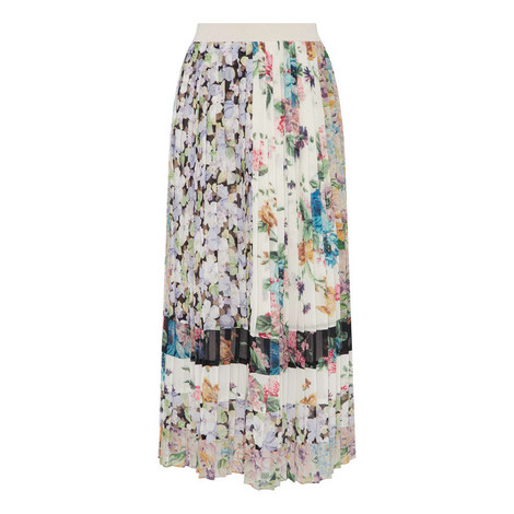 Pleated Floral Skirt, ${color}