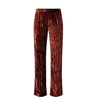 Wide Fit Crushed Velvet Trousers