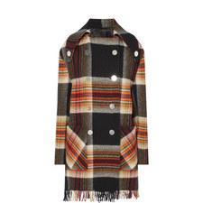 Check Fringe Coat