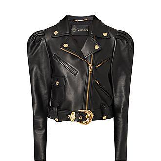 Puff Shoulder Leather Jacket