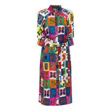 Alphabet Print Shirt Dress