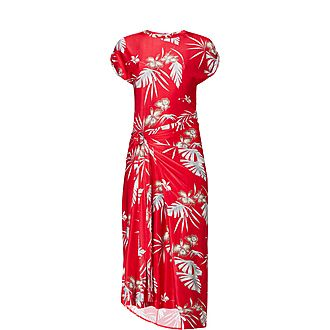 Hawaiian Print Midi Dress