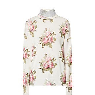 Floral Turtleneck Sweater