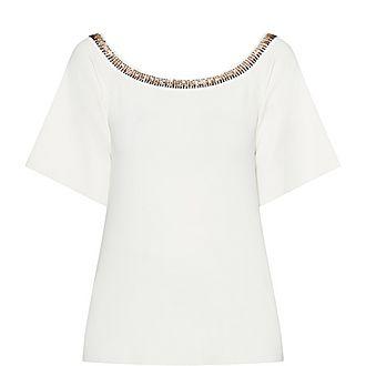 Embellished Collar T-Shirt