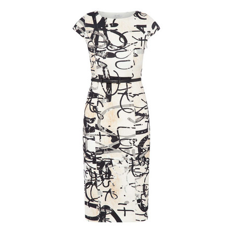 Graffiti Cap Sleeve Dress, ${color}